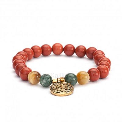 Mala armband Rode Jaspis, Mosagaat, Tijgeroog