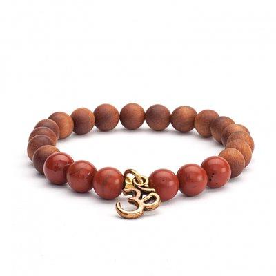 Mala armband Rode Jaspis en houtparels