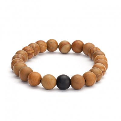 Mala armband houtparels en zwarte Agaat